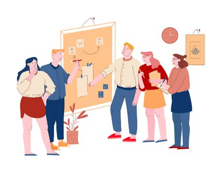 Business People Communicate at Board Meeting Discussing Idea in Office. Team Project Development, Teamwork Process. Employee Brainstorm Work Together, Search Solution Cartoon Flat Vector Illustration