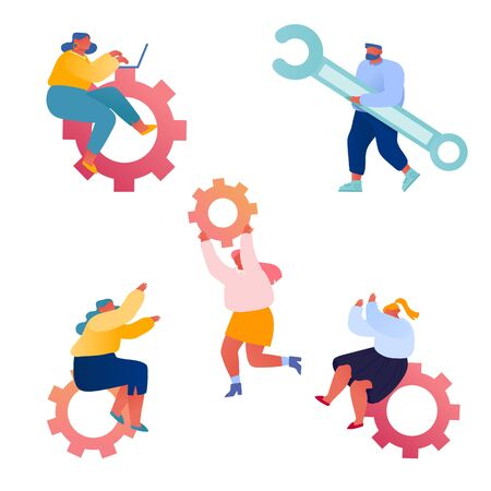 Set of Businesspeople and Cogwheel Mechanism, Technical Support on White Background. Little People Search New Solutions