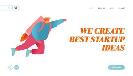 Career Boost, Business Start Up and Growth Website Landing Page. Cheerful Businessman Flying Off with Jet Pack Stock Illustratie