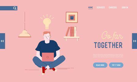 Office Worker or Freelancer Creative Idea Website Landing Page. Man Programmer, Designer or Coder Working on Computer Vektorové ilustrace