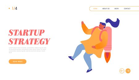 Career Boost, Working Success Website Landing Page. Girl with Rocket on Back Reach New Level of Development