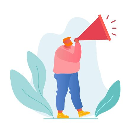 Online Public Relations and Affairs Concept. Man Shouting to Megaphone or Loudspeaker. Alert Advertising Campaign