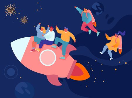 Cheerful Business Men and Women Flying in Space with Jet Packs on Back and Riding Rocket. Office Workers Career Boost, Successful Start Up and Leadership Concept. Cartoon Flat Vector Illustration