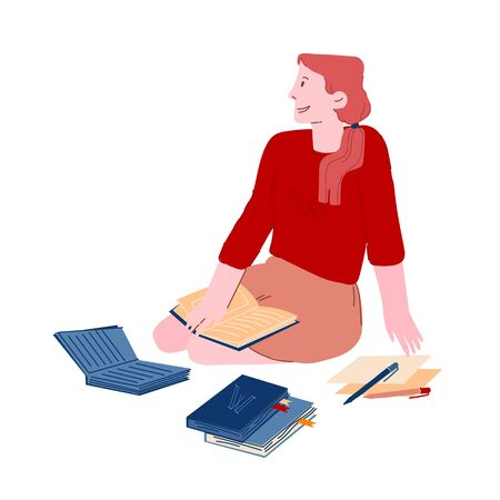 Young Woman Holding Book Sitting on Floor Prepare to Examination or Make Homework. Student Girl Character Reading Illusztráció