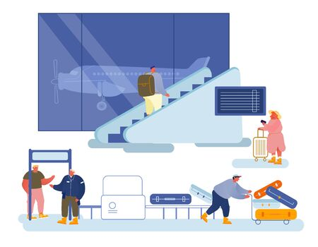People Traveling Concept. Men Women in Airport Department Waiting Boarding on Airplane for Trip Ilustrace