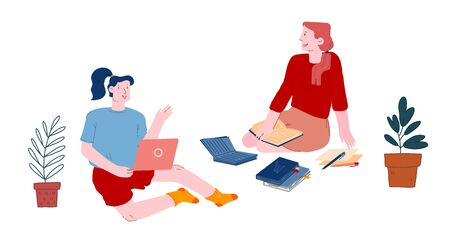 Women Students Conference or Studying Process. Girls Sitting on Floor with Books and Laptop Training Vektoros illusztráció