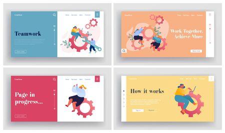 Teamwork Cooperation, Support Website Landing Page Set. Businesspeople Spinning Cogwheel Gears Stock Illustratie
