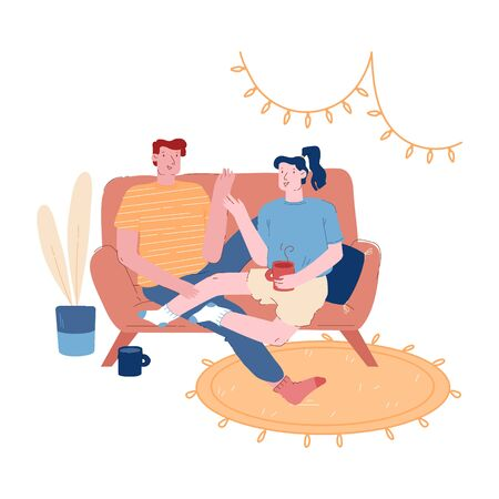 Male Female Characters Together on Weekend Evening. Young Loving Couple Sitting on Couch in Living Room Drinking Tea Stock Illustratie