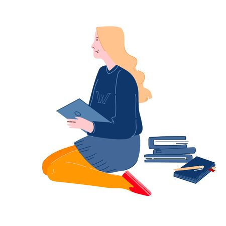 Education Concept, Girl Sitting on Floor Reading Book with School Stationery around. College or University Student Ilustração