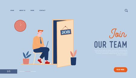 Working Employment Process, Choosing Candidate Website Landing Page. Applicant Waiting Job Interview Appointment Sitting in Hallway at Door Web Page Banner. Cartoon Flat Vector Illustration, Line Art Stock Illustratie