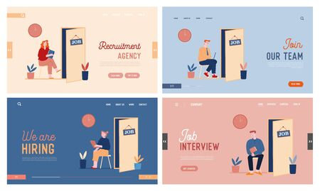 People Waiting Job Interview Website Landing Page Set. Applicants with Cv Documents Hiring Work. Candidates near Cabinet for Appointment Web Page Banner. Cartoon Flat Vector Illustration, Line Art