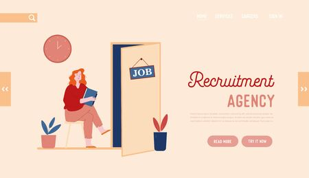 Hr Recruitment Website Landing Page. Candidate Woman with Cv in Hand Sitting on Chair Front of Door for Giving Job Interview. Human Resources Web Page Banner. Cartoon Flat Vector Illustration Line Art
