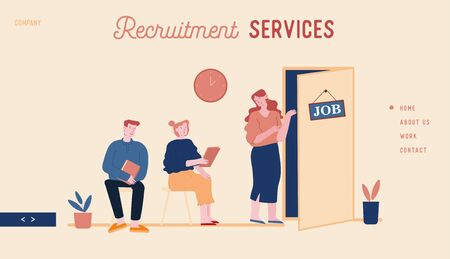 Recruitment, Job Interview Website Landing Page. Unemployed People Searching Job. Applicants with Cv Documents Sitting in Office Hallway Web Page Banner. Cartoon Flat Vector Illustration, Line Art