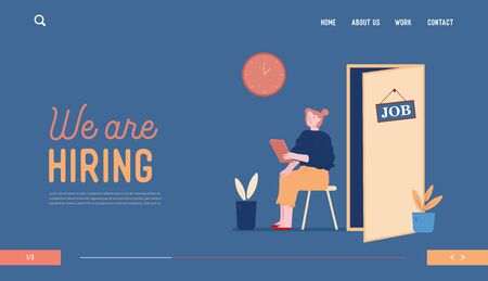 Hr Recruitment Website Landing Page. Candidate Woman with Cv in Hand Sitting on Chair Front of Door for Giving Job Interview. Work Hiring Web Page Banner. Cartoon Flat Vector Illustration, Line Art