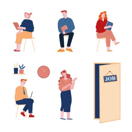 People Applicants Wait Job Interview Set. Candidates Sitting Near Cabinet Isolated on White Background. Employment, Recruitment or Hiring Working Situation. Cartoon Flat Vector Illustration, Line Art
