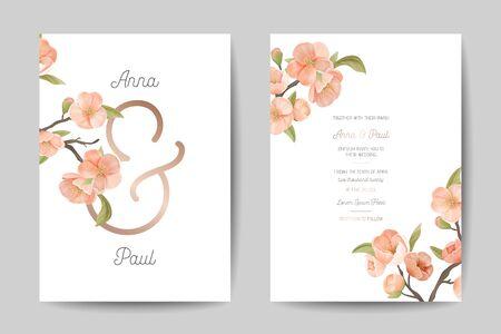 Wedding Invitation Card Front Back Side Set. Template Design, Sakura Flowers with Leaves on White Background, Floral Pastel Vintage Theme Poster Banner Flyer Brochure. Cartoon Flat Vector Illustration Illustration