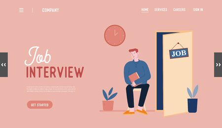 Work Recruitment Website Landing Page. Hr Specialist Having an Interview with Job Applicant and Candidate Waiting Appointment in Hallway Web Page Banner. Cartoon Flat Vector Illustration, Line Art