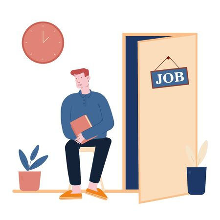 Recruitment and Choosing Candidate Concept. Hr Specialist Having an Interview with Job Applicant Waiting Appointment in Hallway. Working Employment Process Cartoon Flat Vector Illustration, Line Art Ilustração