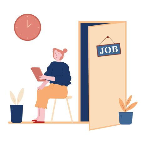 Hr Recruitment Concept. Candidate Woman with Cv in Hand Sitting on Chair Front of Door for Giving Job Interview. Work Hiring, Human Resources Conceptual Cartoon Flat Vector Illustration, Line Art