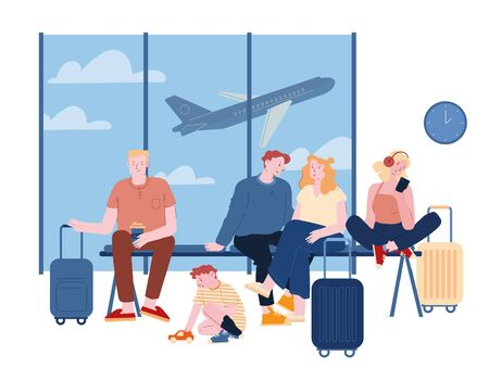 People in Airport Waiting Boarding. Dad, Mom, Little Son Travelers with Suitcases Sitting in Terminal with Flying Airplane on Background. Travelling with Kids Cartoon Flat Vector Illustration Line Art Vetores
