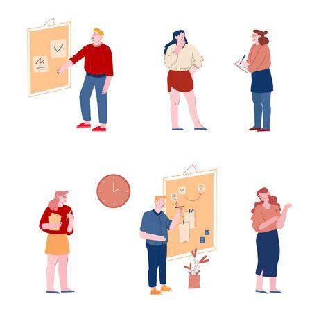 Zestaw osób biurowych. Pracownicy używają metodyki Agile z przyklejaniem dokumentów na duży organizer, planowanie i analizowanie procesu pracy, Scrum Task Board Team Work Cartoon Flat Vector Illustration, Line Art Ilustracje wektorowe