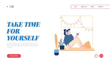 Weekend Home Relaxation, Leisure Girl with Pet Website Landing Page. Young Woman Sitting on Windowsill with Cat Drinking Wine Look at Window Web Page Banner. Cartoon Flat Vector Illustration, Line Art