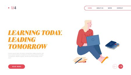 Girl Student Learning Online Website Landing Page. Young Smart Woman Sitting on Floor with Laptop in Hands and Pile of Books Watch Webinar Web Page Banner. Cartoon Flat Vector Illustration, Line Art