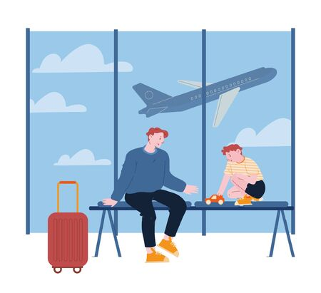Father Traveling with Son on Summer Vacation. Young Man and Little Boy Play with Car in Airport Terminal Waiting Area, Airplane Fly in Sky. Happy Family Trip Cartoon Flat Vector Illustration, Line Art