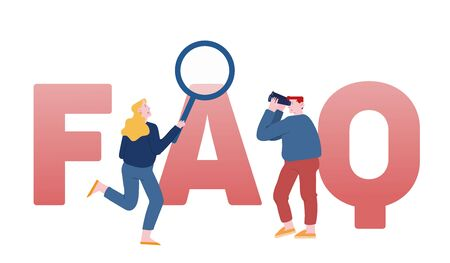 Faq Service Concept. People with Binoculars and Magnifier Asking Questions, User Manual or Guide, Customers Search Useful Information Poster Banner Flyer Brochure. Cartoon Flat Vector Illustration