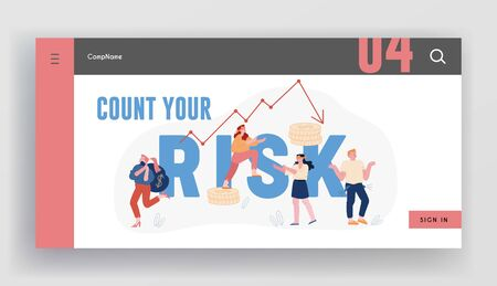 Financial Risk and Economy Crisis Website Landing Page. Blindfold Businesspeople Walk around Arrow Diagram Going Down. Investment Fail, Money Problem Web Page Banner. Cartoon Flat Vector Illustration 일러스트