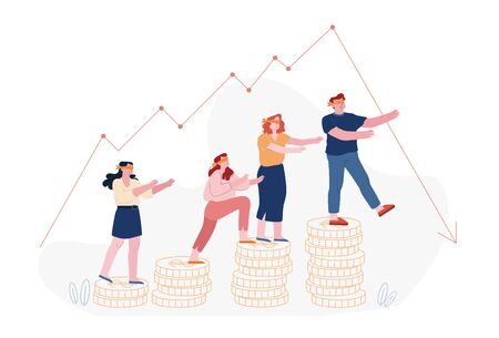 Finance Crisis Concept. Blindfold Business People Following Decline Arrow Chart Step by Coins Ladder. Business on Falling Down Graph. Financial Fail Risk Problem. Cartoon Flat Vector Illustration
