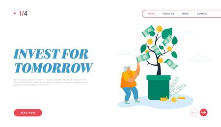 Successful Business Project, Investment Income Website Landing Page. Businesswoman Take Cash from Tree Growing in Pot, Money Falling Down on Ground Web Page Banner. Cartoon Flat Vector Illustration Ilustrace