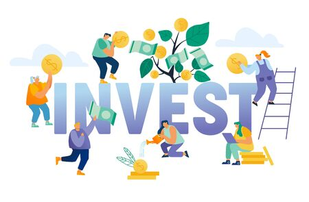 Financial Profit Investment Income Concept. Business People Grow Plant in Pot and Collecting Golden Coins and Banknotes from Money Tree Poster Banner Flyer Brochure. Cartoon Flat Vector Illustration Ilustrace