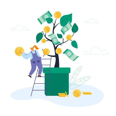 Businesswoman Stand on Ladder lean to Huge Potted Money Tree with Dollars Hanging on Branches Holding Golden Coin in Hand. Investment Strategy, Savings and Capital Cartoon Flat Vector Illustration