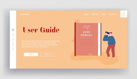 Tutorial Information, Answer Research, Help Website Landing Page. Man Looking to Binoculars on Huge User Manual Instruction for Technical Equipment Web Page Banner. Cartoon Flat Vector Illustration