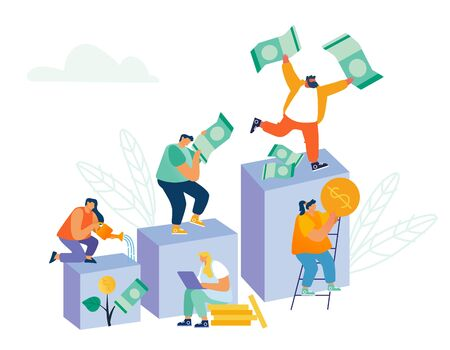 Business People Climbing Up Financial Graph and Chart Stairs with Money Banknotes and Coins in Hands. Characters Finance Growth, Investment Savings and Capital Concept Cartoon Flat Vector Illustration