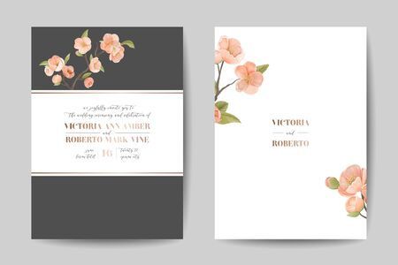 Elegant Greenery Wedding Invitation Card Template Design, Front Back View. Cherry Flowers, Frame on White Background