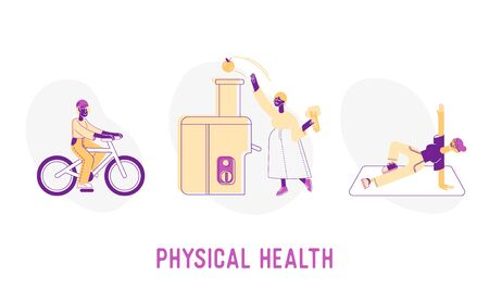 Physical Health Concept. Sportswomen Riding Bicycle, Using Juicer Machine for Cooking, Fitness Exercising in Gym, Infographics Poster Banner Flyer Brochure. Cartoon Flat Vector Illustration, Line Art