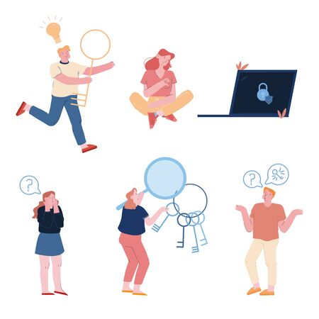 Gruppe von Personen, die das Kontokennwort vergessen und gespeichert haben Traurige verwirrte Frau, die in der Nähe eines riesigen Laptops mit Vorhängeschloss und Schild auf dem Bildschirm sitzt, Mann mit Schlüssel und Glühbirne Cartoon flache Vektorillustration Vector