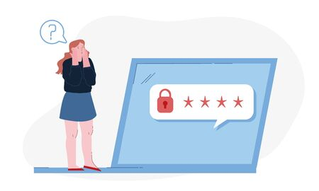 Shocked Woman Stand at Huge Laptop with Padlock and Stars Characters on Screen Trying to Remember Password Identification Information for Internet Profile or Account. Cartoon Flat Vector Illustration