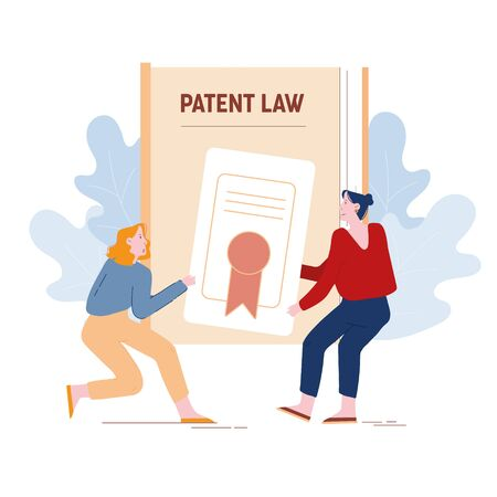 Angry Women Inventors or Authors Pulling Patent Law Certificate Having Fight for Copyright Production Authorship. Intellectual Property Protection Litigation Concept Cartoon Flat Vector Illustration