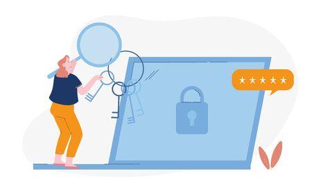 Femme avec une loupe et un tas de clés à la main Se tenir devant un ordinateur portable avec serrure et étoiles à l'écran en essayant de mettre le mot de passe correct pour le compte Internet ou le courrier Illustration vectorielle plane de dessin animé