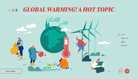Global Warming Website Landing Page. Human Characters Care of Plants near Earth with Factory Pipes Emitting Smoke, Thermometer Show High Temperature Web Page Banner. Cartoon Flat Vector Illustration Illustration