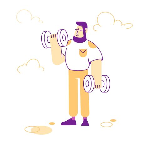 Sportsman Powerlifter Training with Dumbbells. Male Character in Sportswear Workout with Weight. Bodybuilding Exercises, Sport Activity, Healthy Lifestyle. Cartoon Flat Vector Illustration, Line Art
