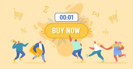 Happy People Doing Purchases around of Huge Button with Buy Now Inscription and Shopping Icons Flying around. Promoter with Megaphone, Black Friday, Total Sale Concept Cartoon Flat Vector Illustration