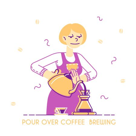 Woman Brewing Coffee Concept. Housewife or Waitress Pouring Hot Drink into Cezve on Kitchen or in Coffee Shop, Bartender Work Poster Banner Flyer Brochure. Cartoon Flat Vector Illustration, Line Art