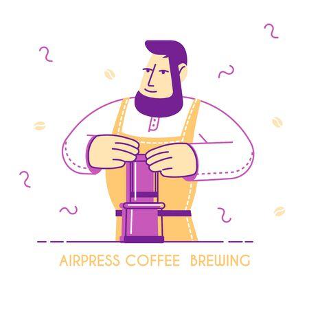 Airpress Coffee Brewing Concept. Freshly Brewed Drink in Hands of Barista Wearing Apron. Delicious Cappuccino Espresso Americano Poster Banner Flyer Brochure Cartoon Flat Vector Illustration, Line Art Ilustração