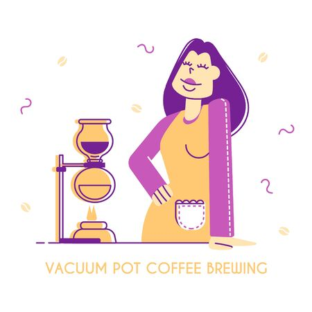 Woman Bartender or Waitress Demonstrate Coffee Brewing Method
