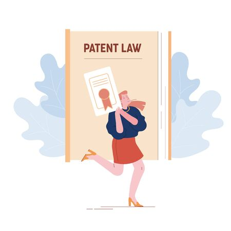 Happy Female Inventor or Author Character Holding in Hands Copyright Patent Law Certificate 向量圖像