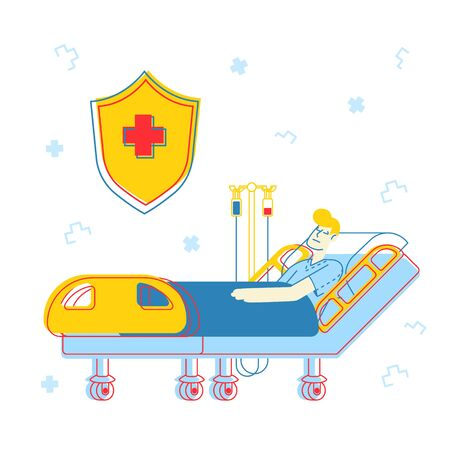 Healthcare Concept. Sick Injured Patient Lying in Medical Bed with Dropper. Clinic Ward Hospital Interior, Recovery after Virus Disease or Intoxication, Cartoon Flat Vector Illustration, Line Art